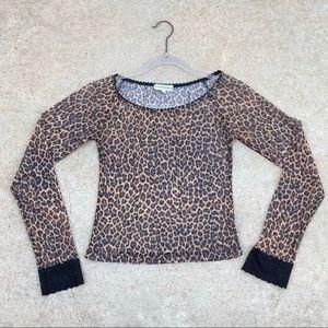 RAMPAGE Y2K Leopard Print Mesh Long Sleeve Crop  M